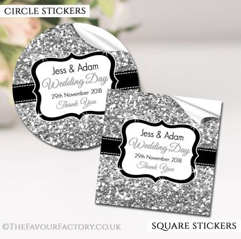 Wedding Favour Stickers Personalised Silver Glitter