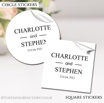 Wedding Favour Stickers Personalised Classic