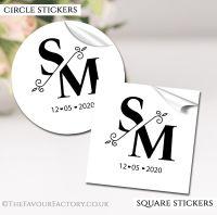 Personalised Wedding Stickers Split Initials Monogram