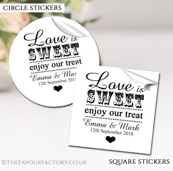 Wedding Favour Stickers Personalised Love is Sweet
