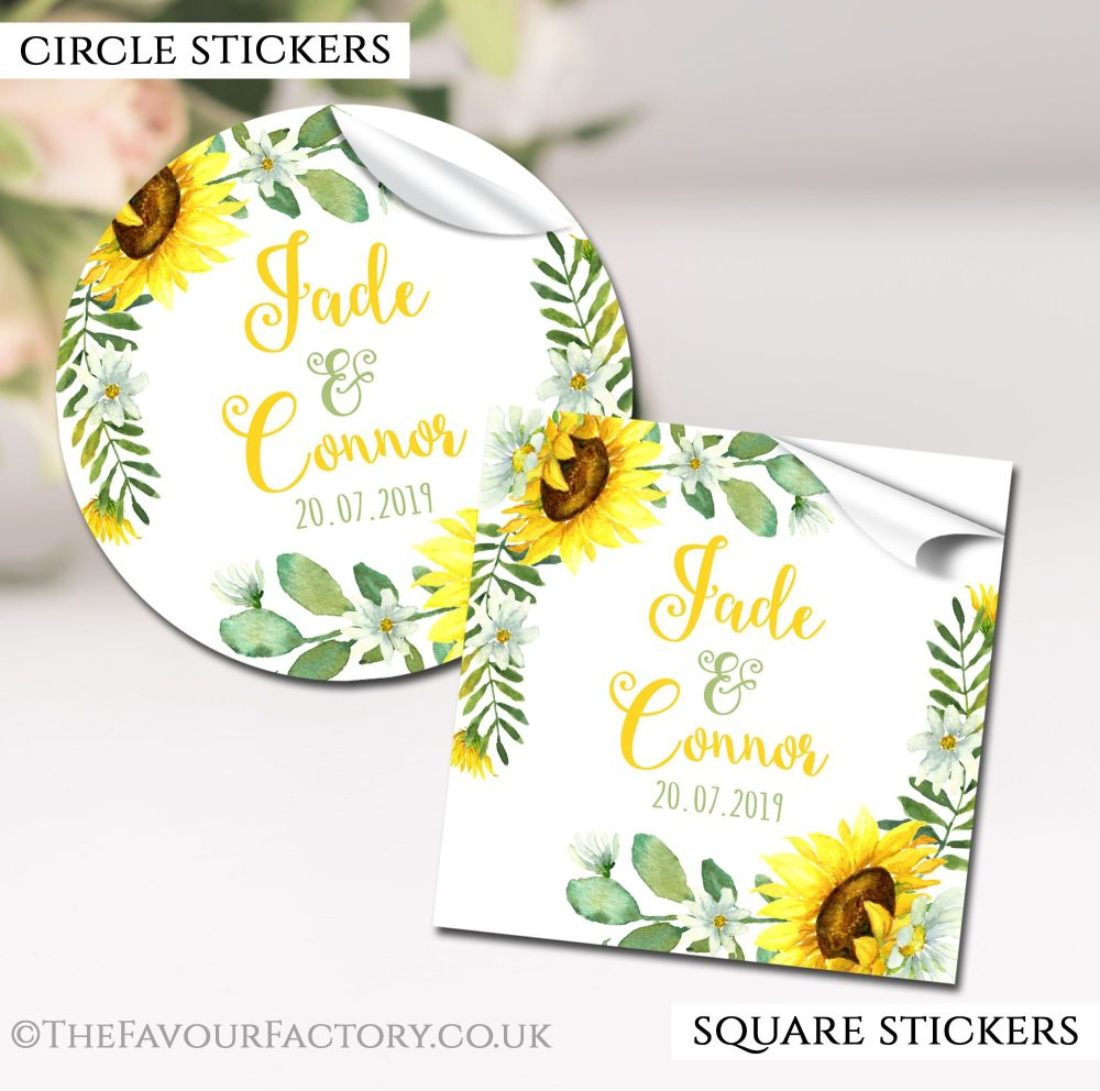 Sunflowers Wedding Favour Stickers