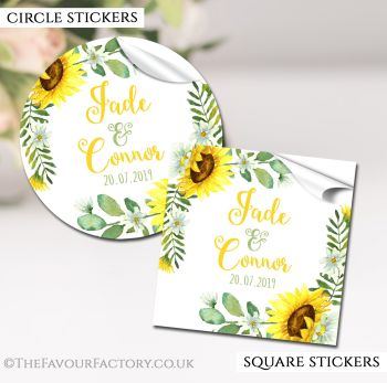 Wedding Favour Stickers Personalised Sunflowers