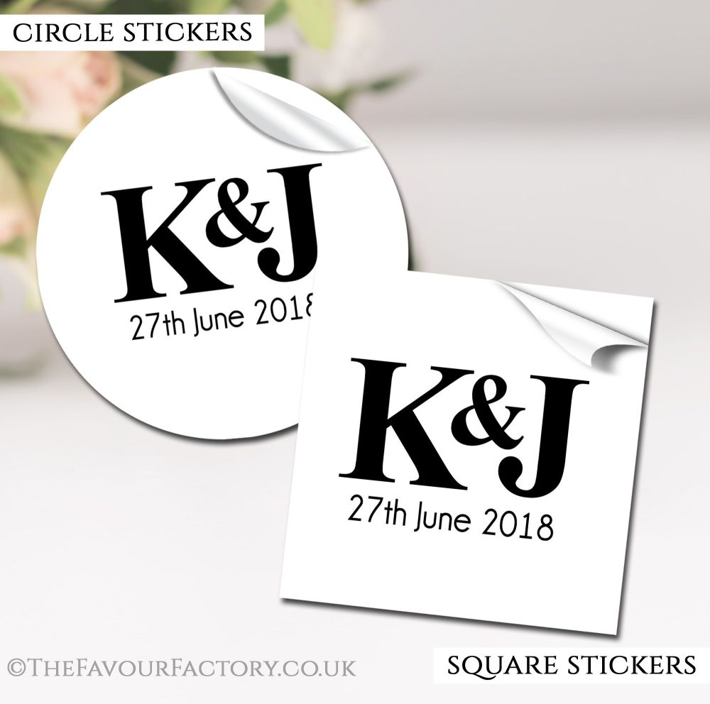 Simply Initials Wedding Favour Stickers