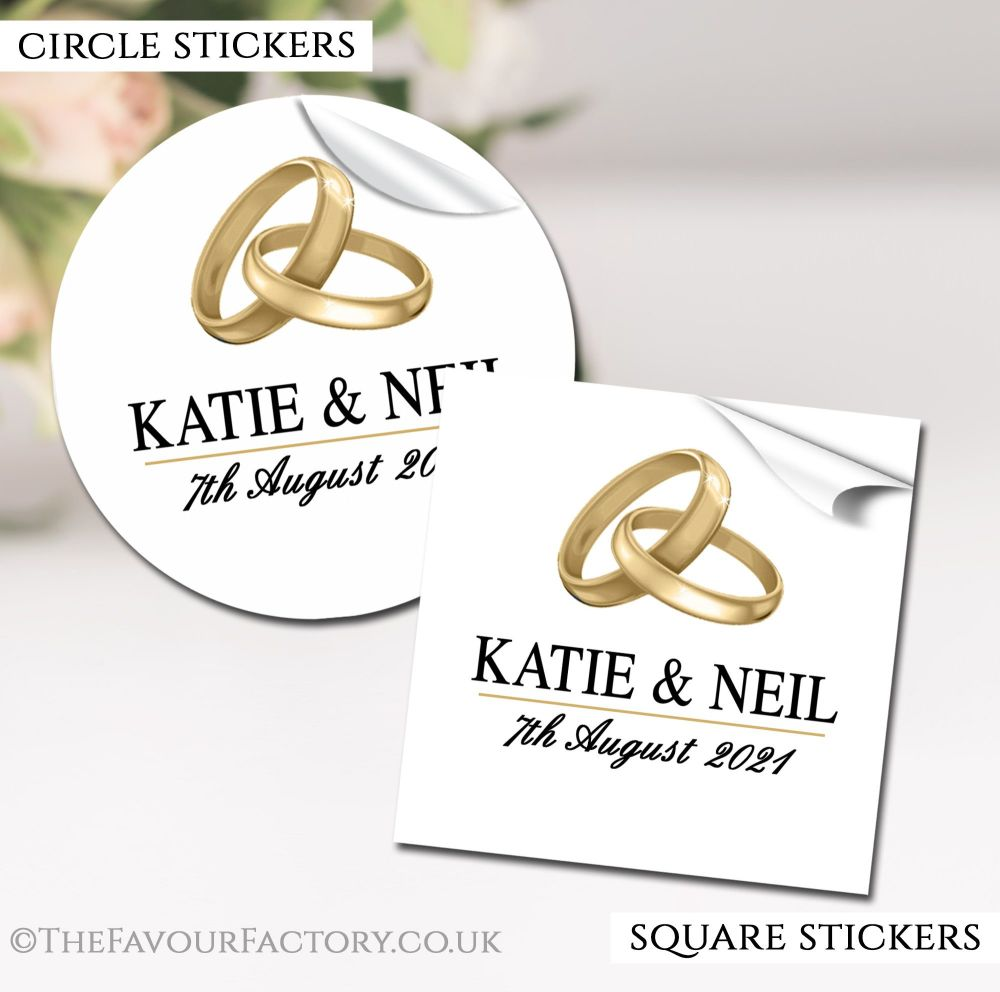 Personalised Wedding Stickers Gold Rings