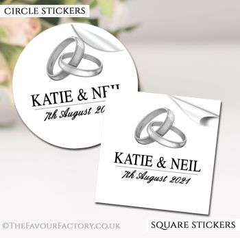 Wedding Favour Stickers Personalised Silver Rings