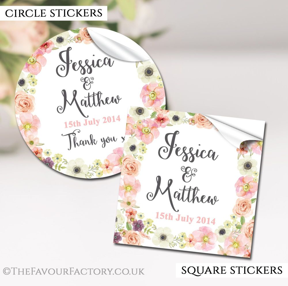 Watercolour Flowers Wedding Favour Stickers