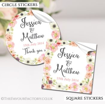 Wedding Favour Stickers Personalised Watercolour Flowers
