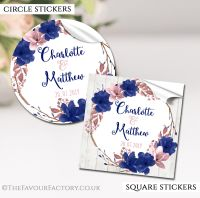Personalised Wedding Stickers Navy Blush Floral Wreath