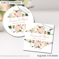 Personalised Wedding Stickers Blush Floral Frame