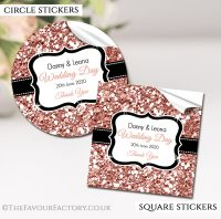 Personalised Wedding Stickers Rose Gold Glitter