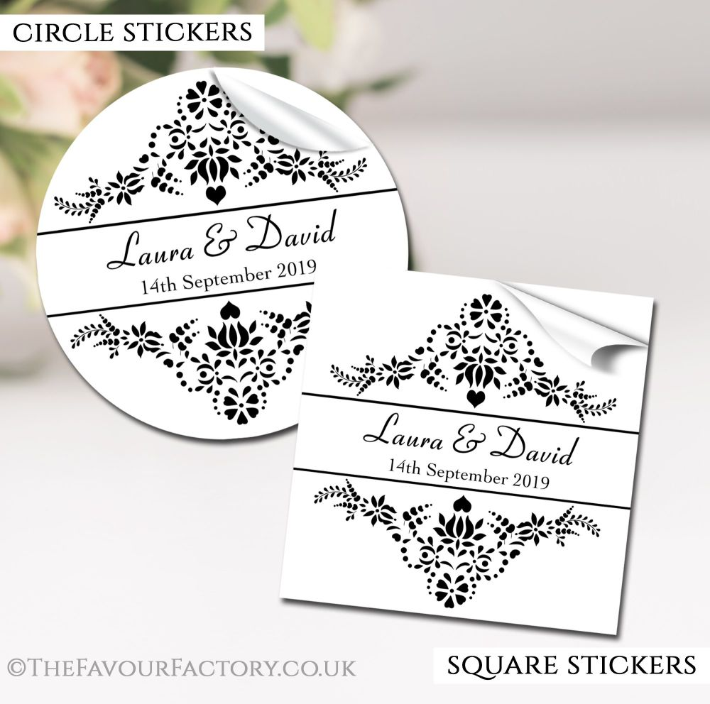 Personalised Wedding Stickers Elegance