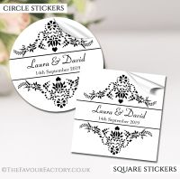 Personalised Wedding Favour Stickers Elegance