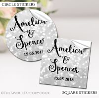 Personalised Wedding Stickers Silver Bokeh