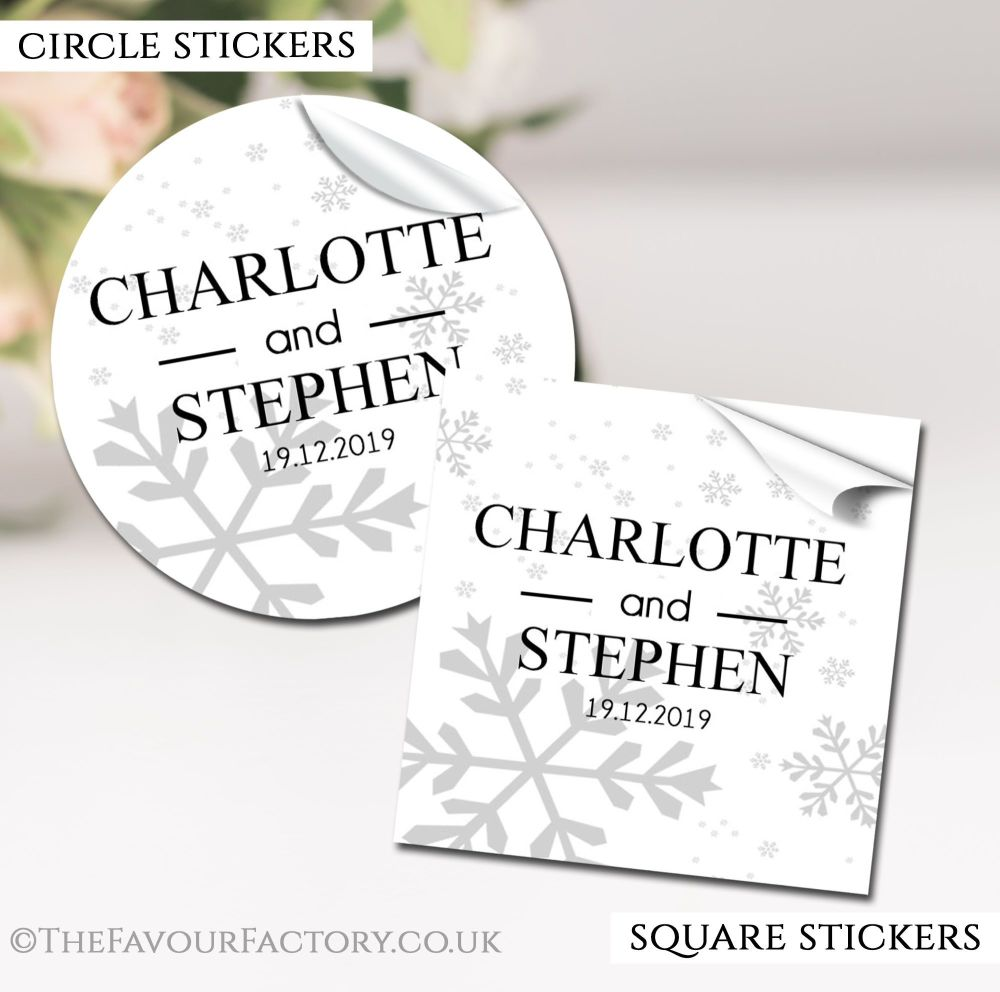 Personalised Winter Wedding Stickers Snowflakes