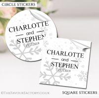 Personalised Winter Wedding Stickers Snowflakes