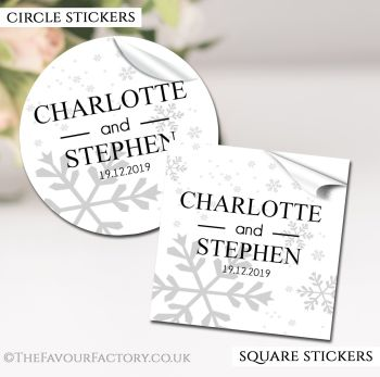 Winter Wedding Favour Stickers Personalised Snowflakes
