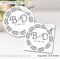 Personalised Wedding Stickers Boho Leaf Frame