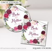 Personalised Wedding Stickers Burgundy Blush Floral Wreath