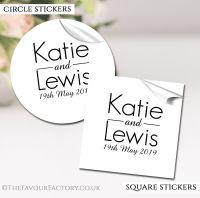 Personalised Wedding Stickers Modern Monogram