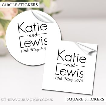 Wedding Favour Stickers Personalised Modern