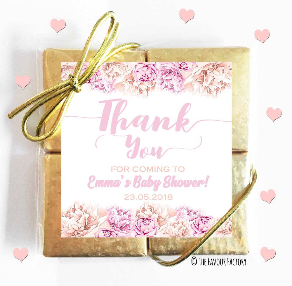 Thank You Flowers Pink Baby Shower Chocolates Quads