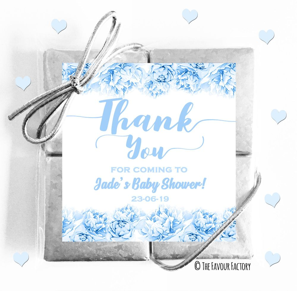 Thank You Flowers Blue Baby Shower Chocolates Quads