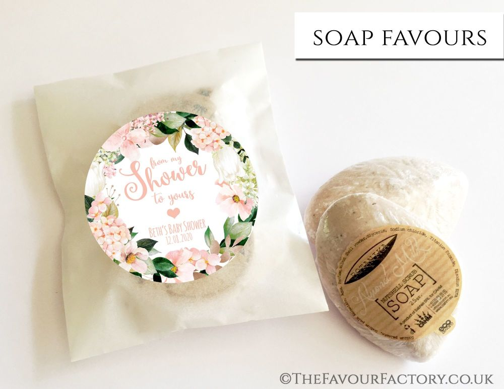 Baby Shower Soap Favours From My Shower To Yours Floral Blush Hydrangeas x1