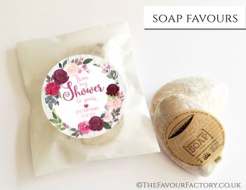 Baby Shower Soap Favours From My Shower To Yours Floral Burgundy Blush x1