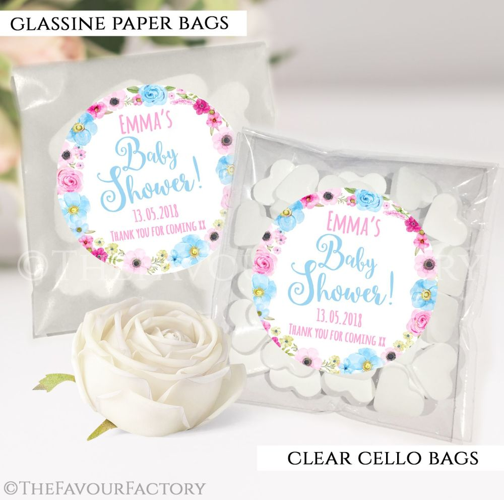 Baby Shower Party Favours Sweet Bags Anna Floral wreath x12