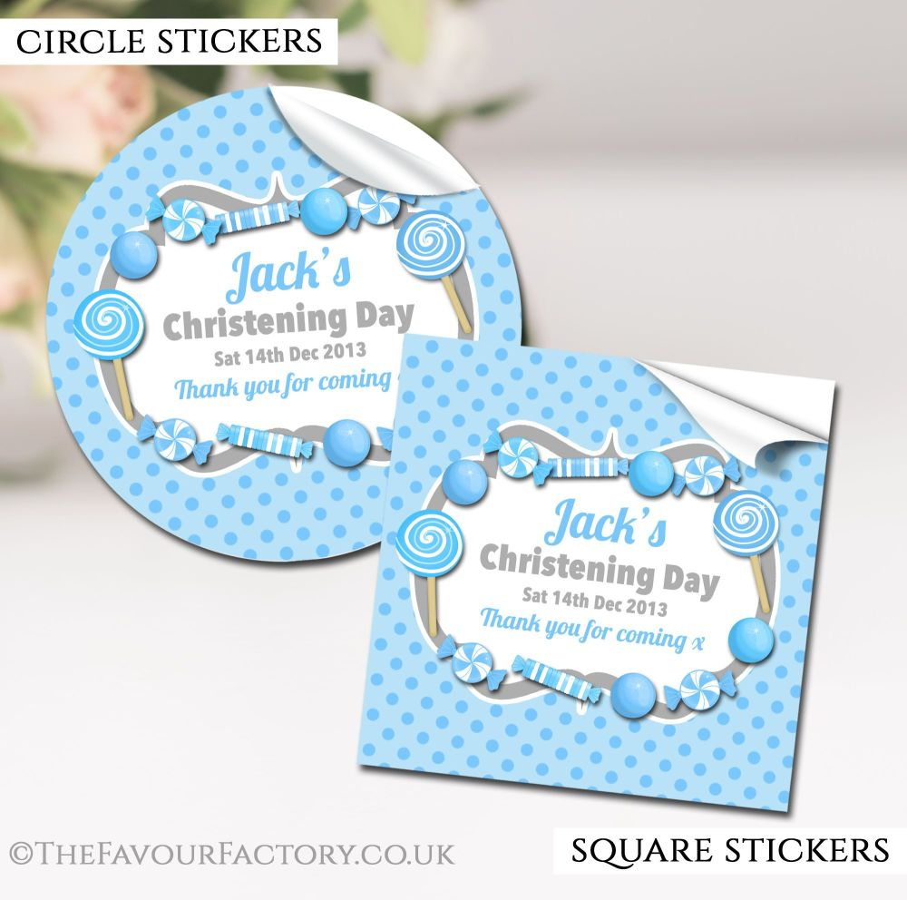 Personalised Christening Stickers Blue Sweets