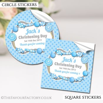 Christening Favours Stickers Personalised Candy Sweets Blue