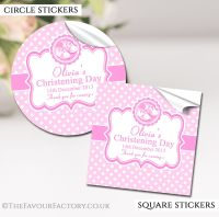 Personalised Christening Stickers Pink Booties