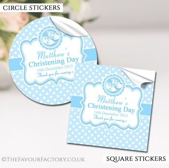 Christening Favours Stickers Personalised Booties Blue