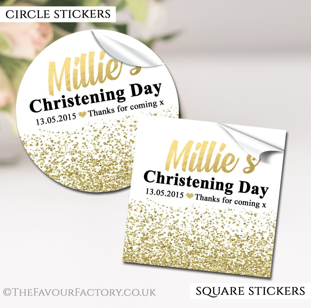 Personalised Christening Stickers Glitter Confetti Gold