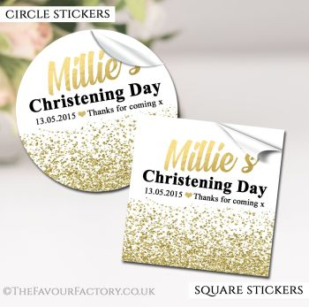 Christening Favours Stickers Personalised Glitter Confetti Gold