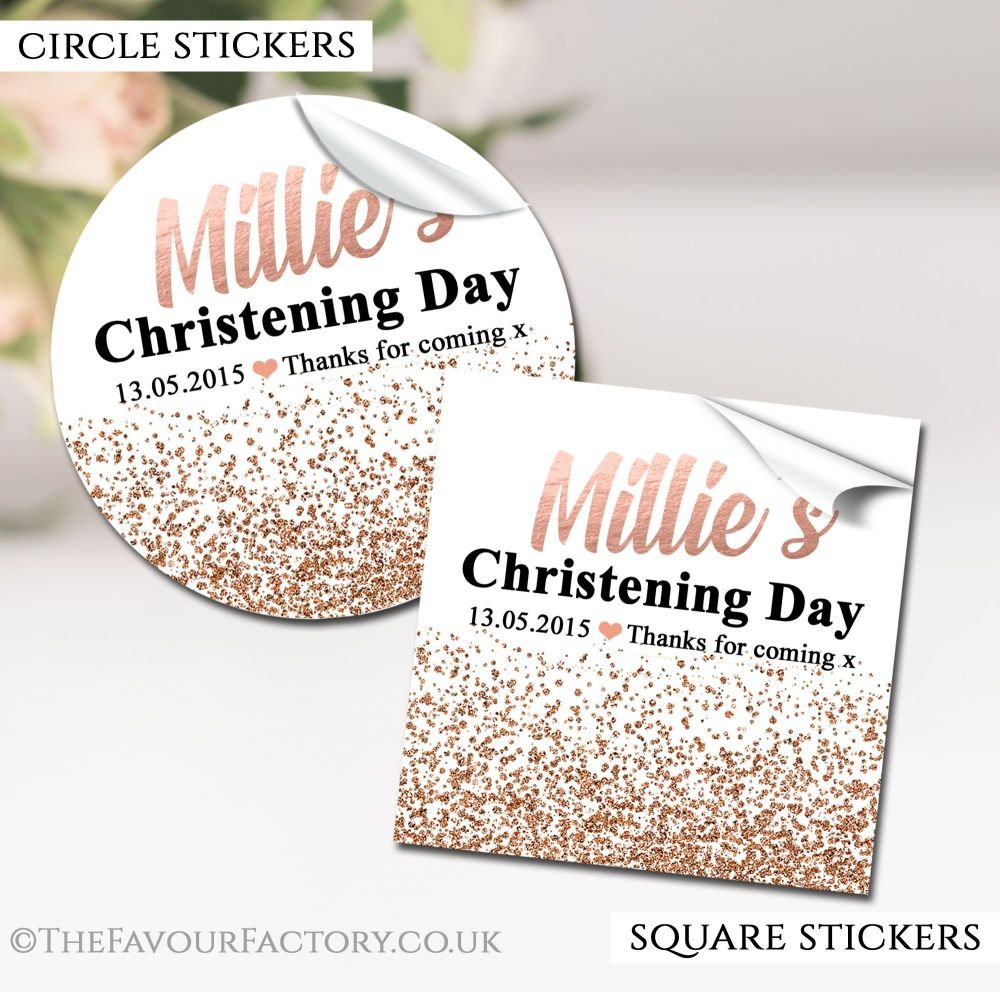 Personalised Christening Stickers Rose Gold Glitter Confetti