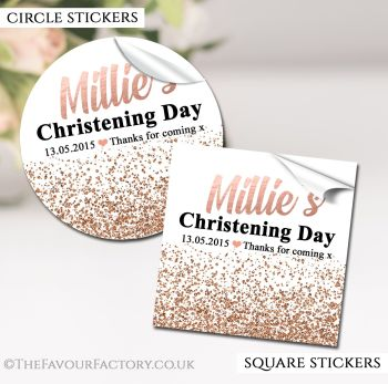 Christening Favours Stickers Personalised Glitter Confetti Rose Gold