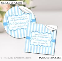 Personalised Christening Stickers Blue Stripes