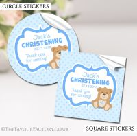 Personalised Christening Stickers Blue Teddy Bear