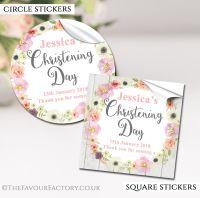 Personalised Christening Stickers Blush Flowers