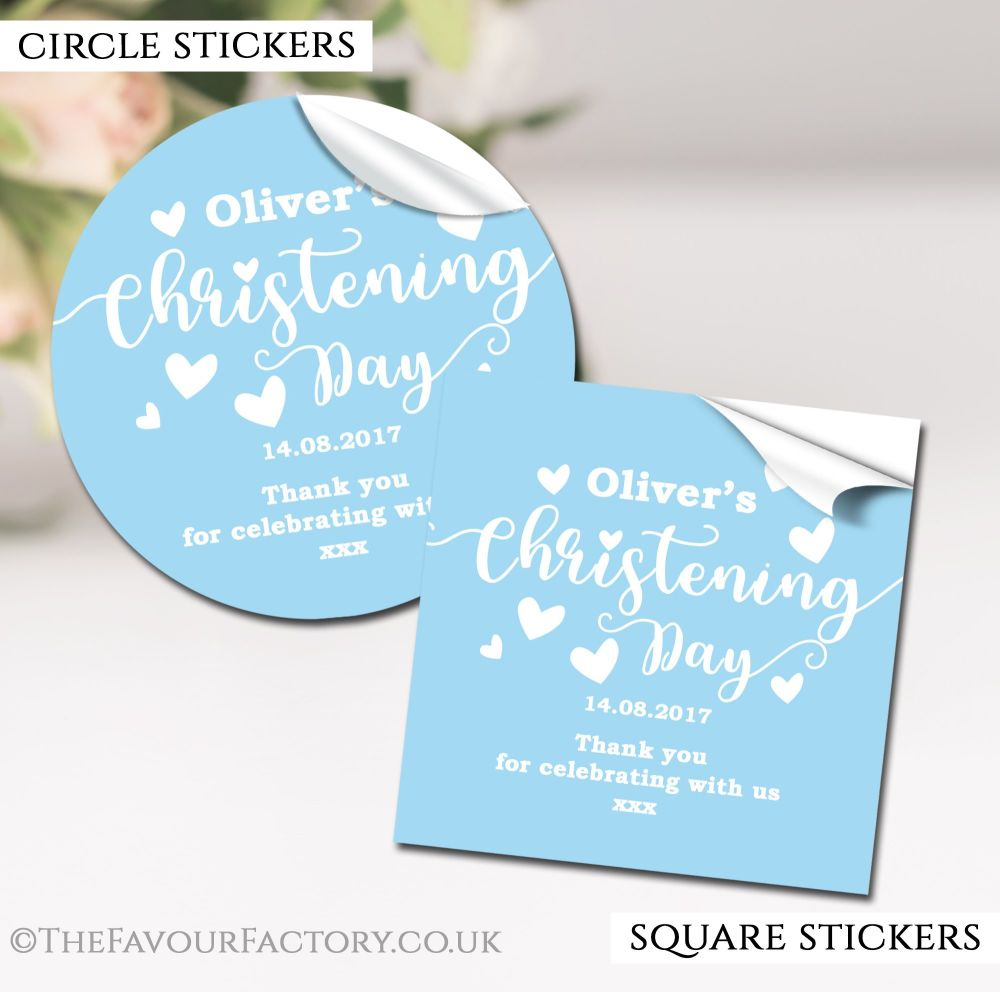 Personalised Christening Stickers Blue Love Hearts