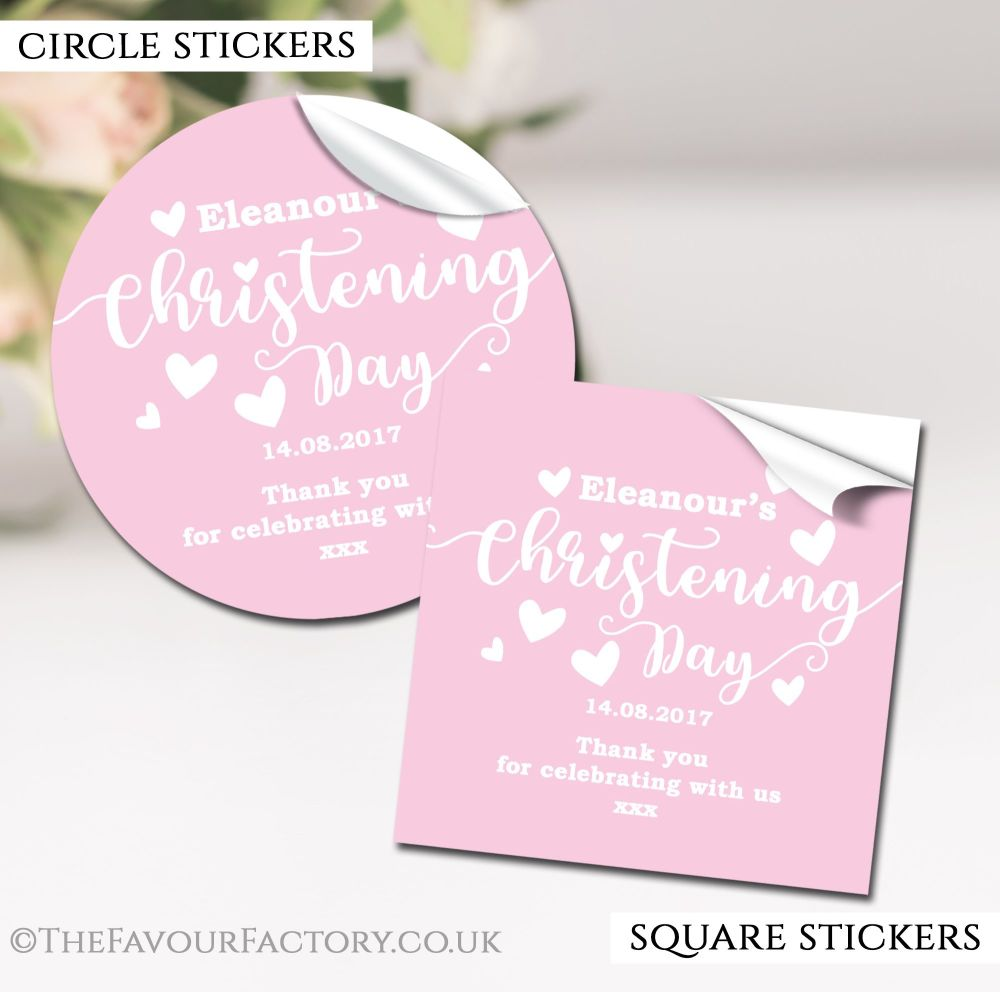Personalised Christening Stickers Pink Love Hearts
