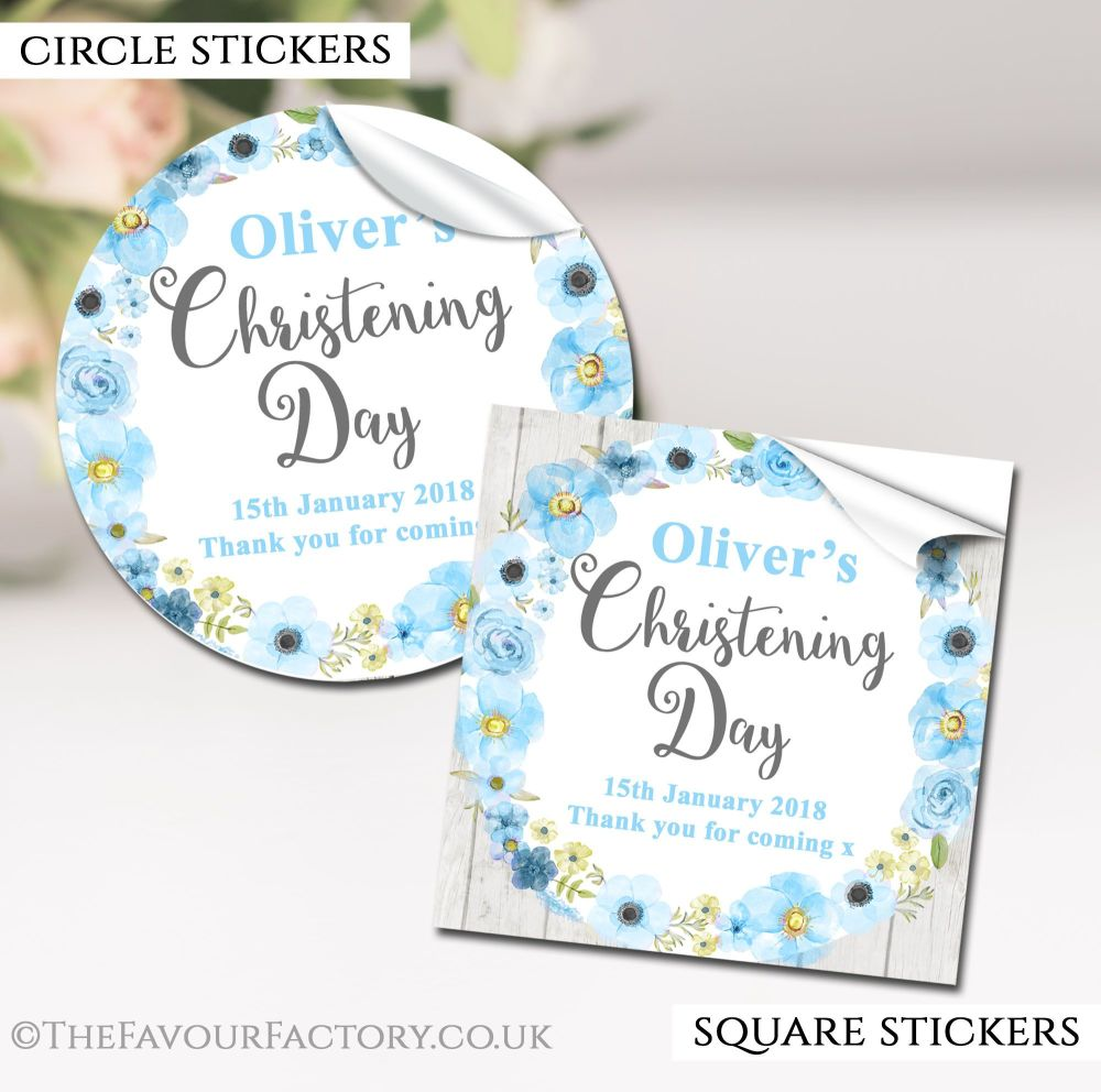 Personalised Christening Stickers Blue Watercolour Flowers