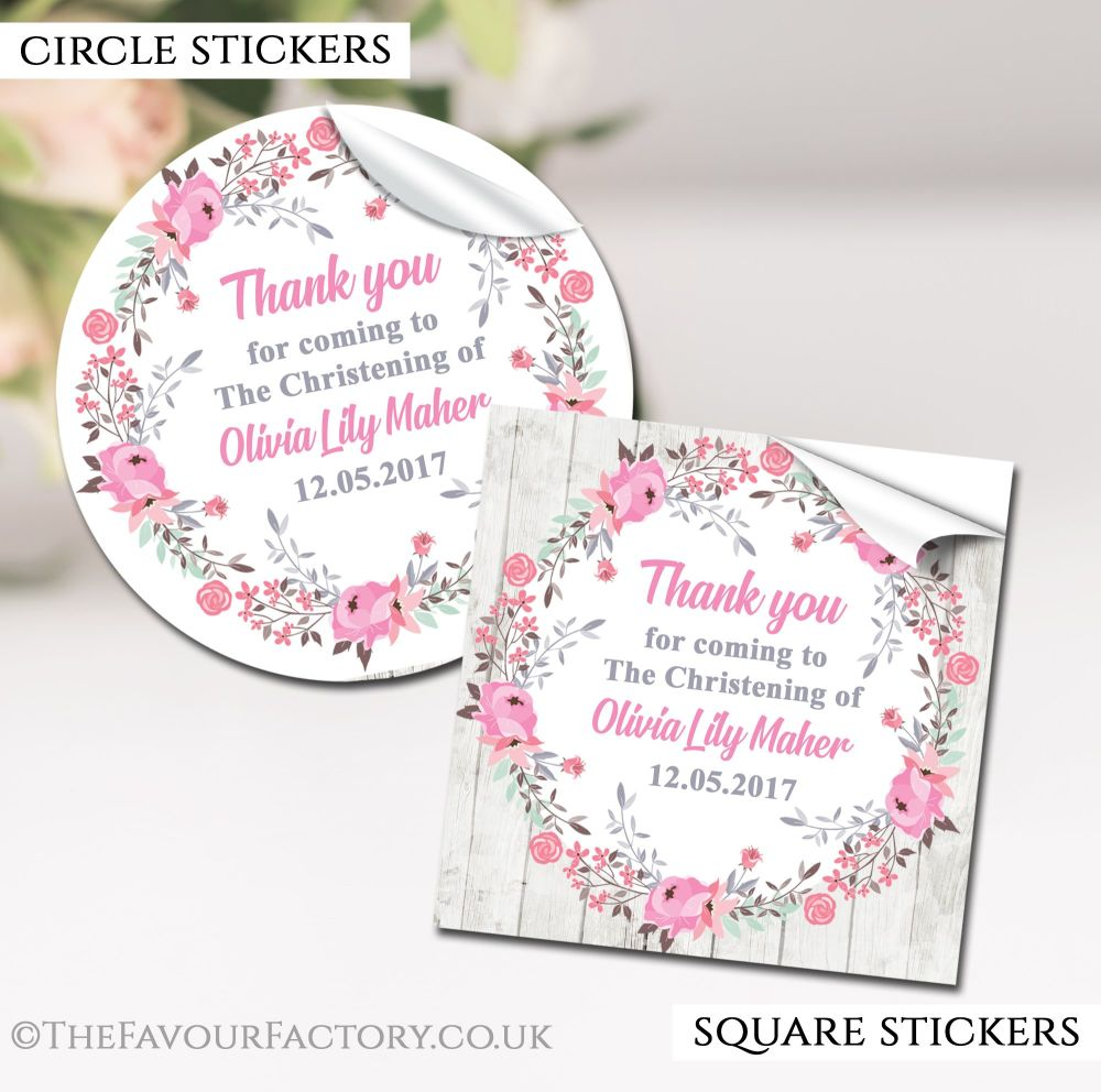 Personalised Christening Stickers Pink Floral Wreath