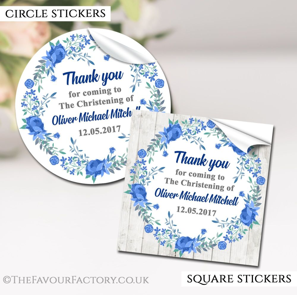 Personalised Christening Stickers Blue Floral Wreath