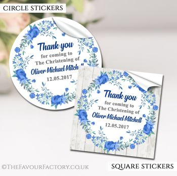 Christening Favours Stickers Personalised Floral Wreath Blue