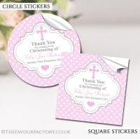 Personalised Christening Stickers Pink Polka Dots