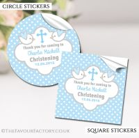 Personalised Christening Stickers Blue Doves