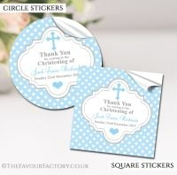 Personalised Christening Stickers Blue Polka Dots
