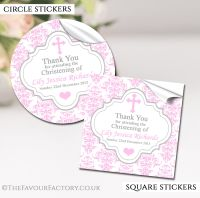 Personalised Christening Stickers Pink Damask Cross